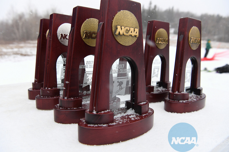 FRANCONIA, NH - MARCH 10:   Trophies await their presentation during the Slalom event at the Division I Men's and Women's Skiing Championships held at Cannon Mountain on March 10, 2017 in Franconia, New Hampshire. (Photo by Gil Talbot/NCAA Photos via Getty Images)