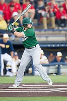 Eastern Michigan Hurons third baseman Mitchell McGeein (23) at bat against the Michigan Wolverines on May 3, 2016 at Ray Fisher Stadium in Ann Arbor, Michigan. Michigan defeated Eastern Michigan 12-4. (Andrew Woolley/Four Seam Images)