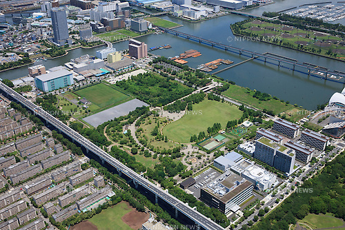 Waterpolo Arena: Tokyo, Japan: Aerial view of proposed venue for the 2020 Summer Olympic Games. (Photo by AFLO)