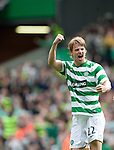 Glenn Loovens celebrates his last gasp winner for Celtic to steal victory in added on time