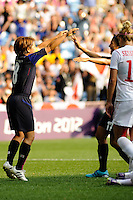 25.07.2012 Coventry, England. Aya MIYAMA (Japan) celebrates the second goal for Japan during the Olympic Football Women's Preliminary game between Japan and Canada from the City of Coventry Stadium