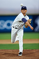 Tri-City Dust Devils starting pitcher Gabriel Morales (13) follows through on his delivery during a Northwest League game against the Vancouver Canadians at Gesa Stadium on August 21, 2019 in Pasco, Washington. Vancouver defeated Tri-City 1-0. (Zachary Lucy/Four Seam Images)