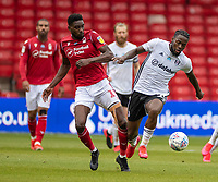 7th July 2020; City Ground, Nottinghamshire, Midlands, England; English Championship Football, Nottingham Forest versus Fulham; Ivan Cavaleiro of Fulham and Sammy Ameobi of Notts Forest contest the ball
