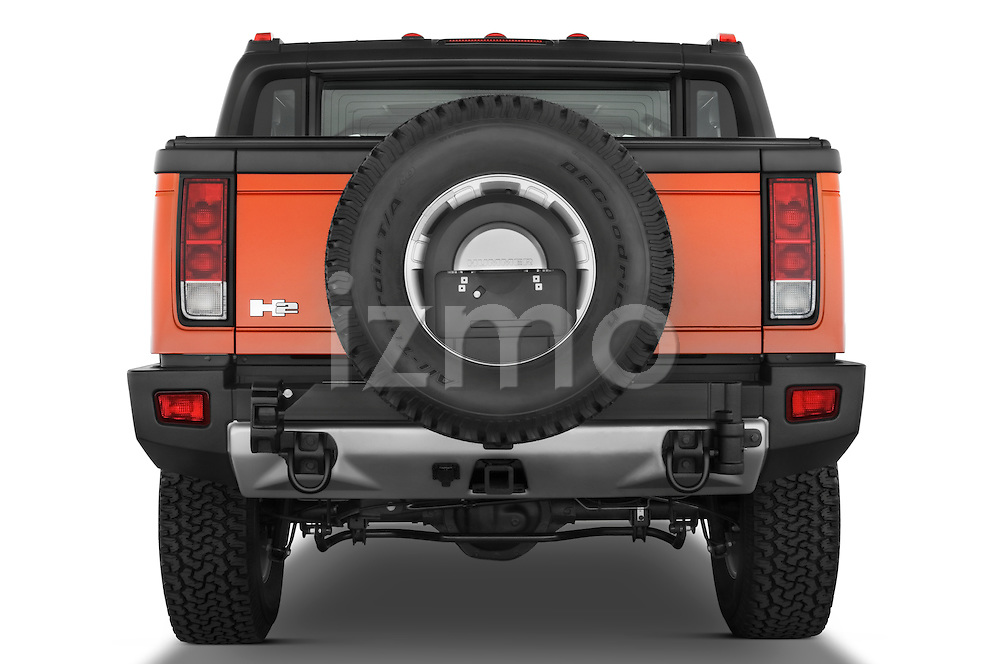 Straight rear view of a 2008 Hummer H2 SUT