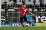 01.12.2019, Borussia Park , Moenchengladbach, GER, 1. FBL,  Borussia Moenchengladbach vs. SC Freiburg,<br />  <br /> DFL regulations prohibit any use of photographs as image sequences and/or quasi-video<br /> <br /> im Bild / picture shows: <br /> Jonathan Schmid (Freiburg #7), rettet den Ball vor dem Tor <br /> <br /> Foto © nordphoto / Meuter