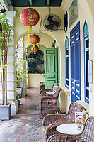 Walkway and Front Porch of Early 20th-century Shophouse, George Town, Penang, Malaysia