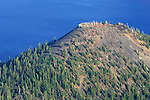 Summit crater on volcanic cinder cone on Wizard Island in Crater Lake, Crater Lake National Park, Oregon