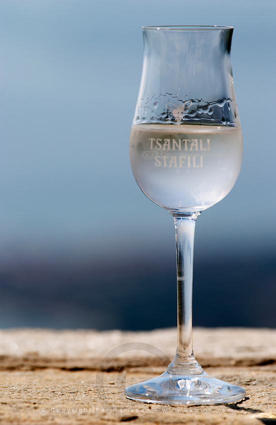 Glass of tsipouro. Mount Athos. Tsantali Vineyards & Winery, Halkidiki, Macedonia, Greece.