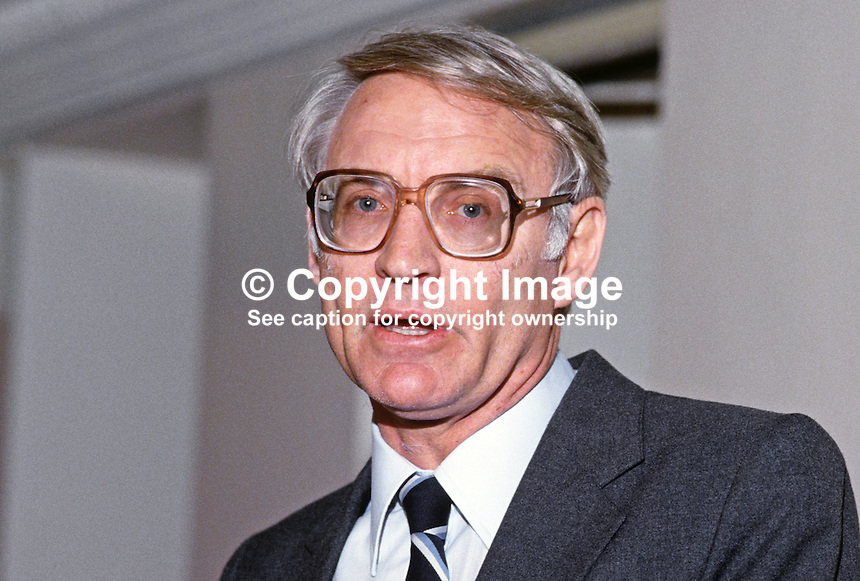 Denis Worrall, South African ambassador to the UK, 19850401DW1.<br /> <br /> Copyright Image from Victor Patterson, 54 Dorchester Park, Belfast, UK, BT9 6RJ<br /> <br /> t1: +44 28 9066 1296 (from Rep of Ireland 048 9066 1296)<br /> t2: +44 28 9002 2446 (from Rep of Ireland 048 9002 2446)<br /> m: +44 7802 353836<br /> <br /> e1: victorpatterson@me.com<br /> e2: victorpatterson@gmail.com<br /> <br /> The use of my copyright images is subject to my Terms &amp; Conditions.<br /> <br /> It is IMPORTANT that you familiarise yourself with them. They are available on my website at www.victorpatterson.com.<br /> <br /> None of my copyright images may be used on a website unless they are visibly watermarked, i.e. &copy; Victor Patterson within the body of the visible image. Metadata denoting my copyright must NOT be deleted. <br /> <br /> Web use is extra at currently recommended NUJ rates.