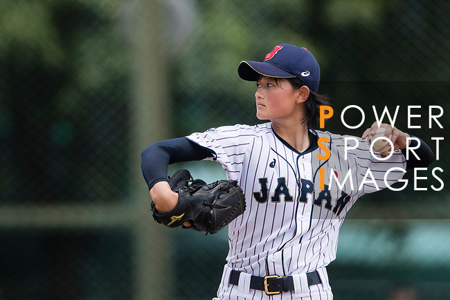 #11 Matsushima Runa of Japan serves during the BFA Women's Baseball Asian Cup match between Japan and Hong Kong at Sai Tso Wan Recreation Ground on September 5, 2017 in Hong Kong. Photo by Marcio Rodrigo Machado / Power Sport Images