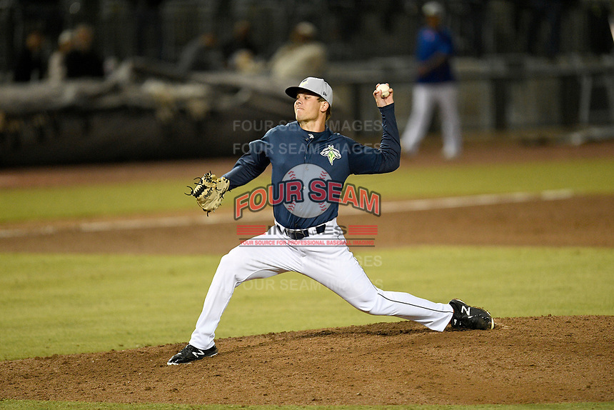 Pitcher Andrew Mitchell (25) of the Columbia Fireflies delivers a pitch in a game against the Charleston RiverDogs on Friday, April 5, 2019, at Segra Park in Columbia, South Carolina. Charleston won, 6-1. (Tom Priddy/Four Seam Images)