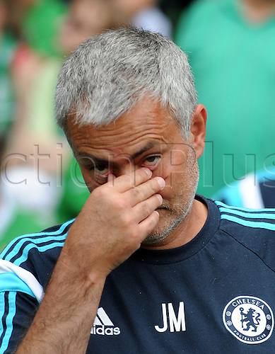 03.08.2014. Bremen, Germany.  Chelsea coach Jose Mourinho before the soccer friendly match between Werder Bremen and FC Chelsea at Weserstadion in Bremen, Germany.