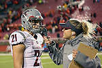 River Cracraft is interviewed by WSU sideline reporter Jessamyn McIntyre after the Washington State Cougars Pac-12 conference show down with the Utah Utes at Rice-Eccles Stadium in Salt Lake City, Utah, on September 27, 2014.  The Cougs came back from a 21-0 deficit to defeat the previously unbeaten Utes, 28-27.