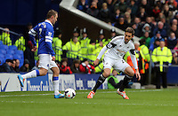 Pictured L-R: Aiden McGeady of Everton against Angel Rangel of Swansea. Saturday 22 March 2014<br /> Re: Barclay's Premier League, Everton v Swansea City FC at Goodison Park, Liverpool, UK.