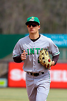Clinton LumberKings outfielder Billy Cooke (2) jogs to the dugout between innings during a Midwest League game against the Wisconsin Timber Rattlers on April 26, 2018 at Fox Cities Stadium in Appleton, Wisconsin. Clinton defeated Wisconsin 7-3. (Brad Krause/Four Seam Images)