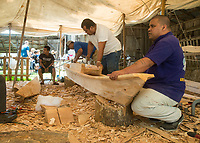 NWA Democrat-Gazette/BEN GOFF @NWABENGOFF<br /> Work continues on the Marshallese KorKor Tuesday, May 8, 2018, at the Shiloh Museum of Ozark History in Springdale. Master canoe builder Liton Beasa and his family, in partnership with the Shiloh Museum of Ozark History, began building the two-man Marshallese canoe called a KorKor April 14 and plan to display the finished canoe at the Little Craft Show Saturday in downtown Springdale.
