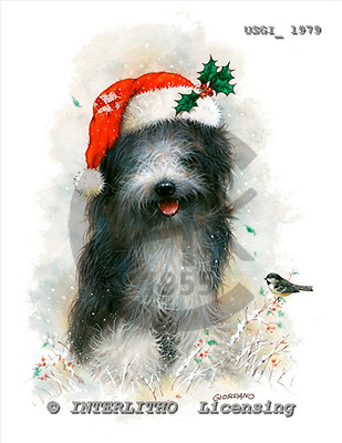 GIORDANO, CHRISTMAS ANIMALS, WEIHNACHTEN TIERE, NAVIDAD ANIMALES, paintings+++++,USGI1979,#XA# dogs,puppies