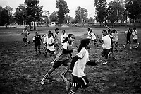 Students of Sukma Football academy train in their ground at the educational complex in Sukma.Sukma, Chattisgarh, India. Arindam Mukherjee