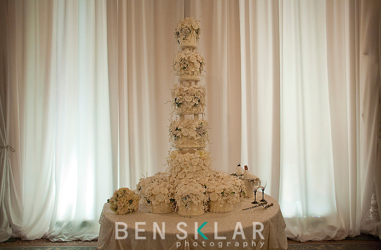 The wedding cake waits at the reception. Olympic gold medalist, Sanya Richards, and New York Giants cornerback, Aaron Ross, wed at the Hyde Park Baptist in Austin, Texas on Friday, February 26, 2010...