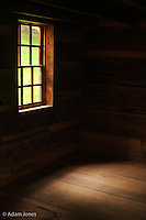 Light through cabin window<br /> Tipton Place, Cades Cove<br /> Great Smoky Mountains N.P. TN