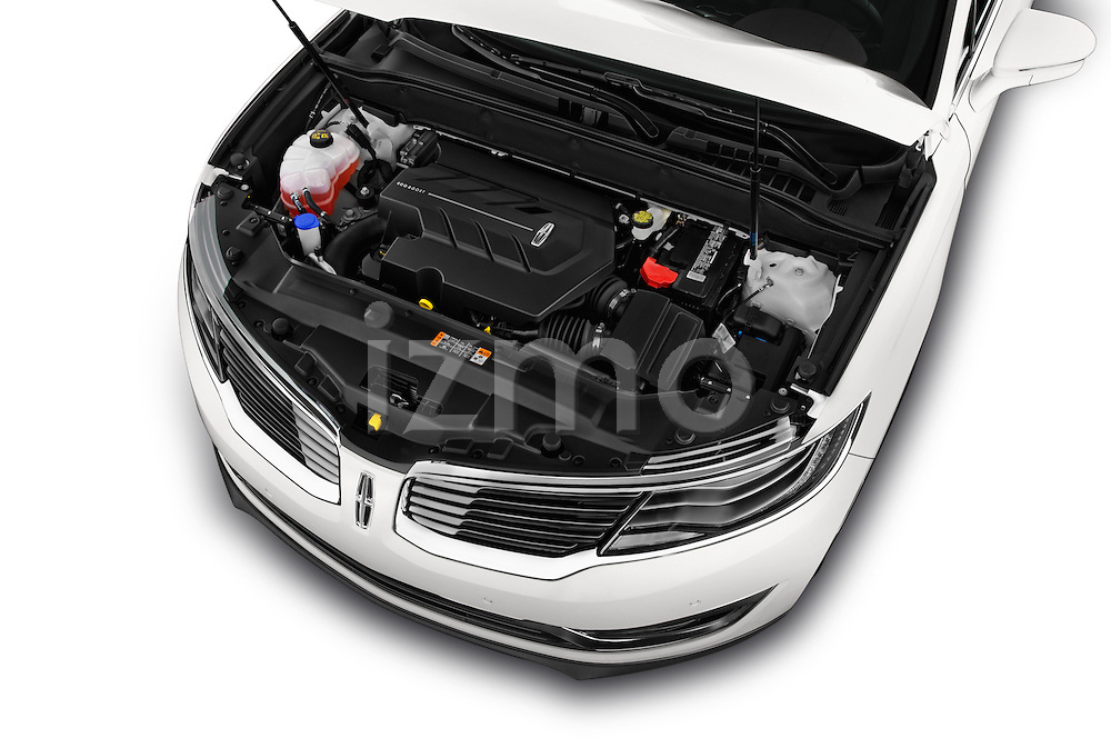 Car Stock 2018 Lincoln MKX Black Label 5 Door Suv Engine  high angle detail view