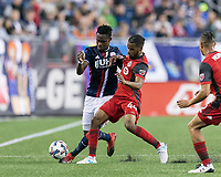Foxborough, Massachusetts - June 3, 2017: In a Major League Soccer (MLS) match, New England Revolution (blue/white) defeated Toronto FC (red), 3-0, at Gillette Stadium.