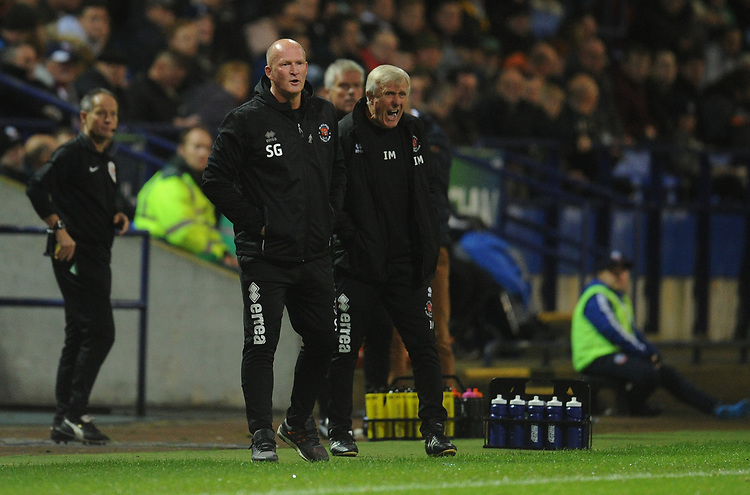 Blackpool manager Simon Grayson shouts instructions to his team from the dug-out <br /> <br /> Photographer Kevin Barnes/CameraSport<br /> <br /> The EFL Sky Bet League One - Bolton Wanderers v Blackpool - Monday 7th October 2019 - University of Bolton Stadium - Bolton<br /> <br /> World Copyright © 2019 CameraSport. All rights reserved. 43 Linden Ave. Countesthorpe. Leicester. England. LE8 5PG - Tel: +44 (0) 116 277 4147 - admin@camerasport.com - www.camerasport.com