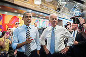 United States President Barack Obama and U.S. Vice President Joe Biden talk to the media at Taylor Gourmet on Pennsylvania Avenue after walking from the White House for a take-out lunch. The reason he gave was they are starving and the establishment is giving a percent discount to furloughed government workers as an indication of how ordinary Americans are looking out for one another.<br /> Credit: Pete Marovich / Pool via CNP