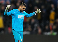 23rd November 2019; Liberty Stadium, Swansea, Glamorgan, Wales; English Football League Championship, Swansea City versus Millwall; Bartosz Bialkowski of Millwall punches the air after his side win 0-1 - Strictly Editorial Use Only. No use with unauthorized audio, video, data, fixture lists, club/league logos or 'live' services. Online in-match use limited to 120 images, no video emulation. No use in betting, games or single club/league/player publications
