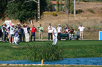 Luke Donald (ENG) plays his drop shot on the par3 16th hole after landing his drive in the water during Sunday's Final Round of the Bankia Madrid Masters at El Encin Golf Hotel, Madrid, Spain, 9th October 2011 (Photo Eoin Clarke/www.golffile.ie)