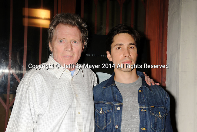 LOS ANGELES, CA- SEPTEMBER 16: Actor Michael Parks (L) and Justin Long arrive at the Los Angeles premiere of 'Tusk' at the Vista Theatre on September 16, 2014 in Los Angeles, California.