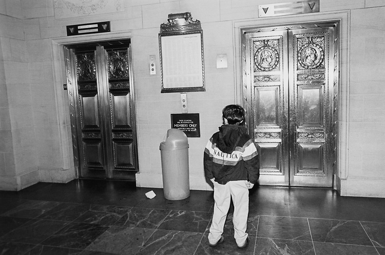 The far left elevator members only at all times Longworth, 1st floor, in April 1996. (Photo by Maureen Keating/CQ Roll Call via Getty Images)