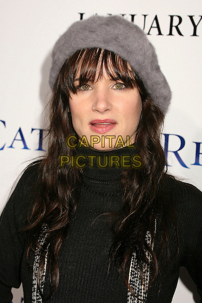 "JULIETTE LEWIS.""Catch and Release"" Los Angeles Premiere at the Egyptian Theatre, Hollywood, California, USA..January 22nd, 2007.portrait headshot grey hat black top juliet polo neck mouth open.CAP/ADM/BP.©Byron Purvis/AdMedia/Capital Pictures"
