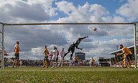 Joe Day of Newport County makes a save during the Sky Bet League 2 match between Newport County and Notts County at Rodney Parade, Newport, Wales on 30 April 2016. Photo by Mark  Hawkins / PRiME Media Images.