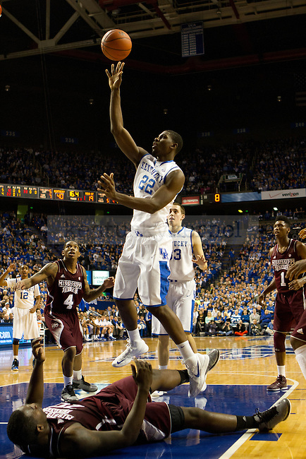 Fr. Forward Alex Poythress makes a floater during the 85-65 UK win vs Mississippi State Men's basketball game in Lexington, Ky., on Wednesday, February 27, 2013. Photo by Matt Burns | Staff