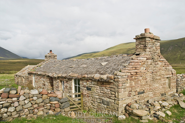 Burnmouth bothy, an old stone crofters house now turned into free tourist accomodation at Rackwick Bay on the island of Hoy, Orkney, Scotland