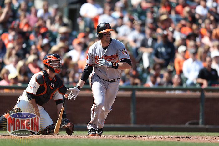 SAN FRANCISCO, CA - AUGUST 11:  Matt Wieters of the Baltimore Orioles bats during the game against the San Francisco Giants at AT&T Park on Sunday, August 11, 2013 in San Francisco, California. Photo by Brad Mangin