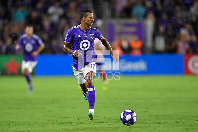 Orlando, FL - Wednesday July 31, 2019:  Nani #17 during the Major League Soccer (MLS) All-Star match between the MLS All-Stars and Atletico Madrid at Exploria Stadium.