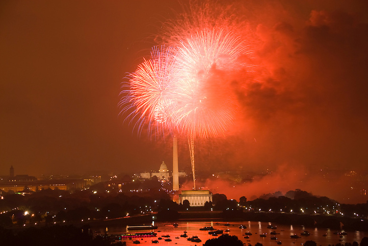 Washington DC; USA: July 4 Fireworks and icons, as seen from Arlington VA venue, Top of the Town.Photo copyright Lee Foster Photo # 16-washdc82911