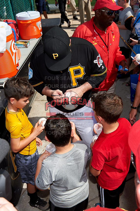 Pittsburgh Pirates Garth Brooks (7) signs autographs after the teams first Spring Training practice on February 18, 2019 at Pirate City in Bradenton, Florida.  (Mike Janes/Four Seam Images)