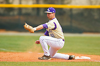 Western Carolina Catamounts first baseman Austin Neary (33) digs out a low throw during the game against the Davidson Wildcats at Wilson Field on March 10, 2013 in Davidson, North Carolina.  The Catamounts defeated the Wildcats 5-2.  (Brian Westerholt/Four Seam Images)