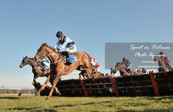 Wily Fox ridden by Matt Crawley jumps in the lead. Race 1. Domenico Adorno 85th Birthday Novices¥ Handicap Hurdle. Sidney Banks Day. Huntingdon Race Course. Cambridgeshire. 23/02/2012. MANDATORY Credit Garry Bowden/Sportinpictures - NO UNAUTHORISED USE - 07837 394578.
