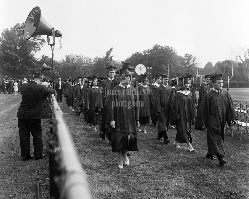 Hamden High School Graduation Ceremony Procession 1965, June 1965. Connecticut. Shot on 120 format Tri-X B&W film.