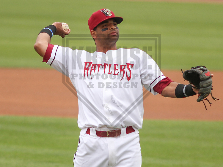 APPLETON - June 2015: Wisconsin Timber Rattlers third baseman Sthervin Matos (9) during a Midwest League baseball game against the Cedar Rapids Kernels on June 30th, 2015 at Fox Cities Stadium in Appleton, Wisconsin. Cedar Rapids defeated Wisconsin 3-2. (Brad Krause/Krause Sports Photography)