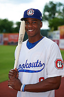 Chattanooga Lookouts outfielder Adam Brett Walker II (8) poses for a photo before a game against the Jacksonville Suns on April 30, 2015 at AT&T Field in Chattanooga, Tennessee.  Jacksonville defeated Chattanooga 6-4.  (Mike Janes/Four Seam Images)