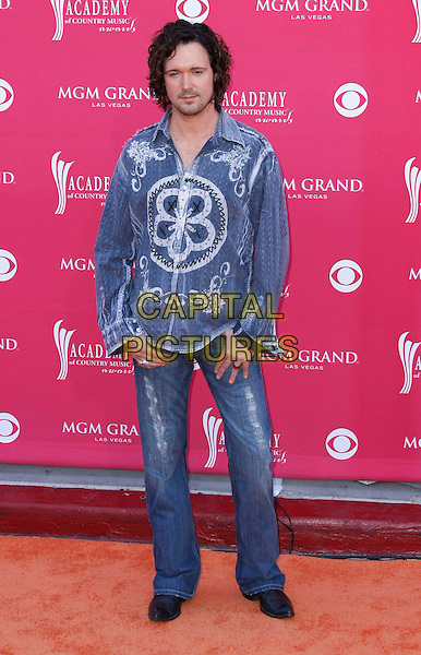 FISHER STEVENSON.The 43rd Annual Academy of Country Music Awards (ACM) held at MGM Grand Garden Arena, Las Vegas, Nevada, USA, .18 May 2008 .full length blue patterned print shirt jeans.CAP/ADM/MJT.©MJT/Admedia/Capital Pictures