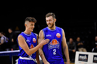 Saints' Aniwaniwa Tait-Jones and Nick Kay during the NBL - Cigna Saints v Bay Hawks at TSB Bank Arena, Wellington, New Zealand on Friday 12 April 2019. <br /> Photo by Masanori Udagawa. <br /> www.photowellington.photoshelter.com