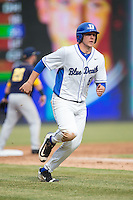 Jack Labosky (6) of the Duke Blue Devils hustles towards home plate against the California Golden Bears at Durham Bulls Athletic Park on February 20, 2016 in Durham, North Carolina.  The Blue Devils defeated the Golden Bears 6-5 in 10 innings.  (Brian Westerholt/Four Seam Images)