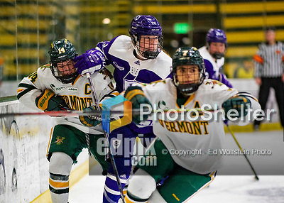 2 February 2020: Holy Cross Crusader Forward Mary Edmonds, a Freshman from Fairfield, CT, in second period action against the University of Vermont Catamounts at Gutterson Fieldhouse in Burlington, Vermont. The Lady Cats rallied in the 3rd period to tie the Crusaders 2-2 in NCAA Women's Hockey East play. Mandatory Credit: Ed Wolfstein Photo *** RAW (NEF) Image File Available ***