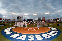 10 March 2009: Players of Dominican Republic and Netherlands stand during the national anthem prior to the 2009 World Baseball Classic Pool D game 5 at Hiram Bithorn Stadium in San Juan, Puerto Rico. The Netherlands pulled off second upset to advance to the secound round. The Netherlands come from behind in the bottom of the 11th inning and beat the Dominican Republic, 2-1.